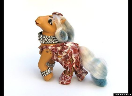 My Little Meaty Pony (Lady Gaga)  Finnish sculptor Mari Kasurinen has transformed our beloved My Little Ponies into pop icons.  Using a variety of materials including plastics, faux fur and latex, the Berlin based artist creates unique depictions of Lady Gaga, Edward Scissorhands, Michael Jackson and Jack Sparrow, to name but a few.