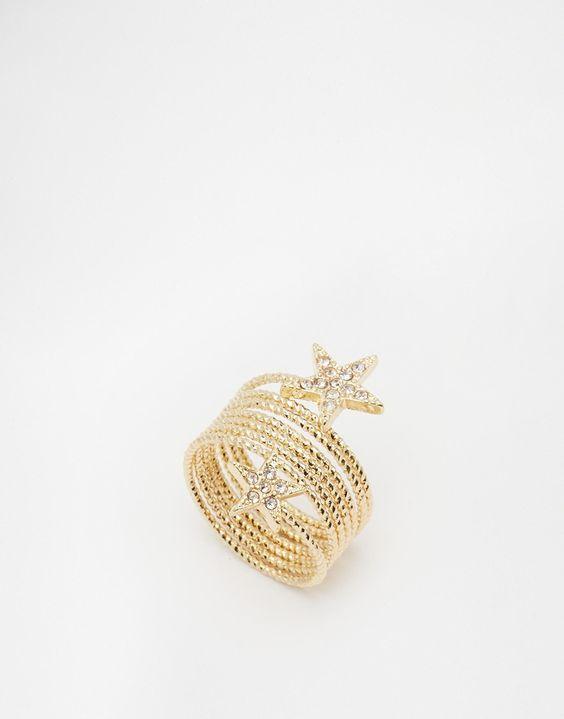 Ring von Nali goldfarben Sterne mit Strass schmaler Wickelring 90% unedles Metall, 10% Glas
