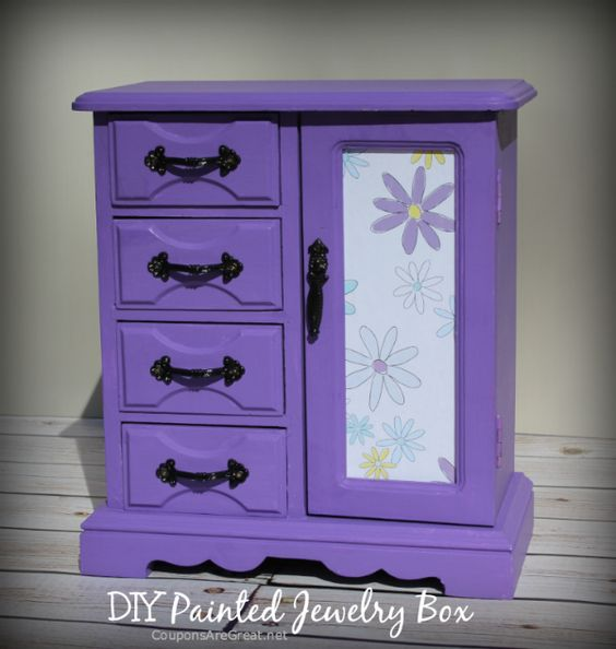 Thrift Store Jewelry Box Makeover: How to Make a Painted Jewelry Box - Coupons…
