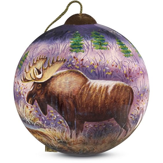 """""""Moose"""" Petite Round Shaped Glass Ornament by Cynthie Fisher"""