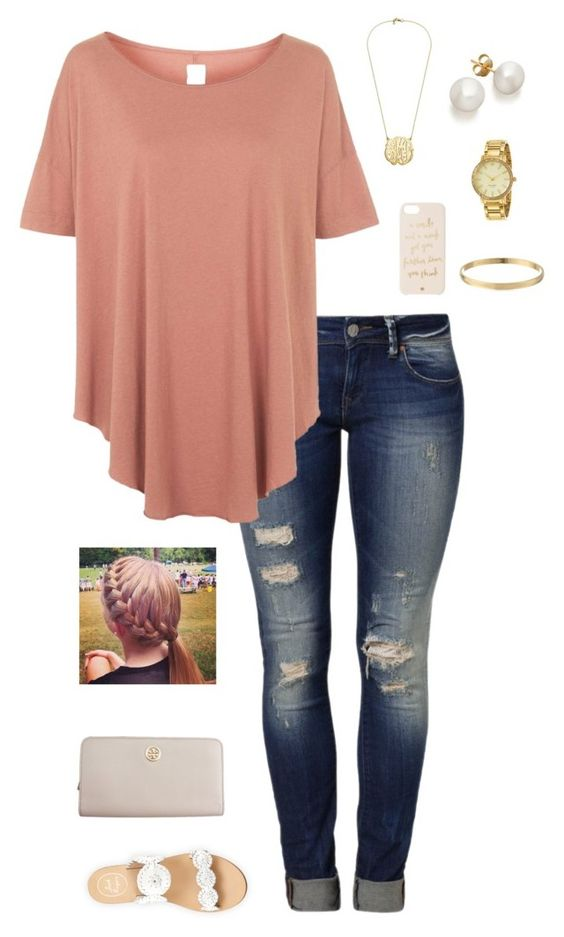 """G is for Gold Accents"" by gabbbsss ❤ liked on Polyvore featuring Mavi, Topshop, Kate Spade, Jack Rogers and Tory Burch:"