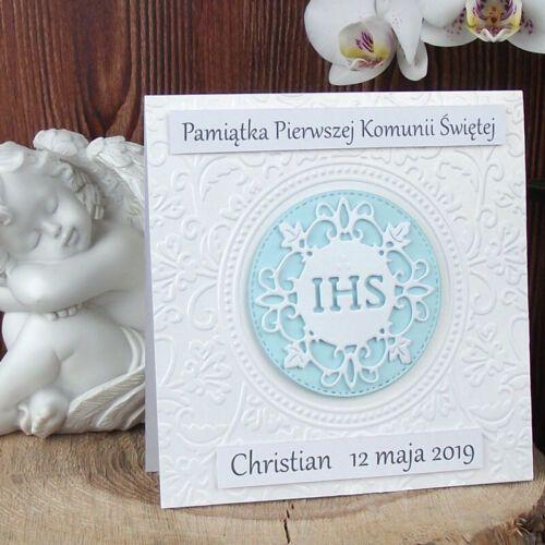 PAMIATKA KOMUNII kartki Edysha Design KOMUNIA PERSONALIZOWANA KARTKA