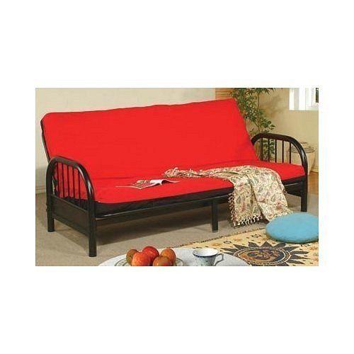 Metal futon futon sofa bed and futon sofa on pinterest for Metal frame futon sofa bed