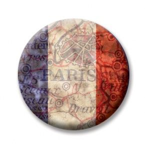 """France 2  (Magnetic) Design insert  that fits into 1""""Magnabilities interchangeable jewelry."""