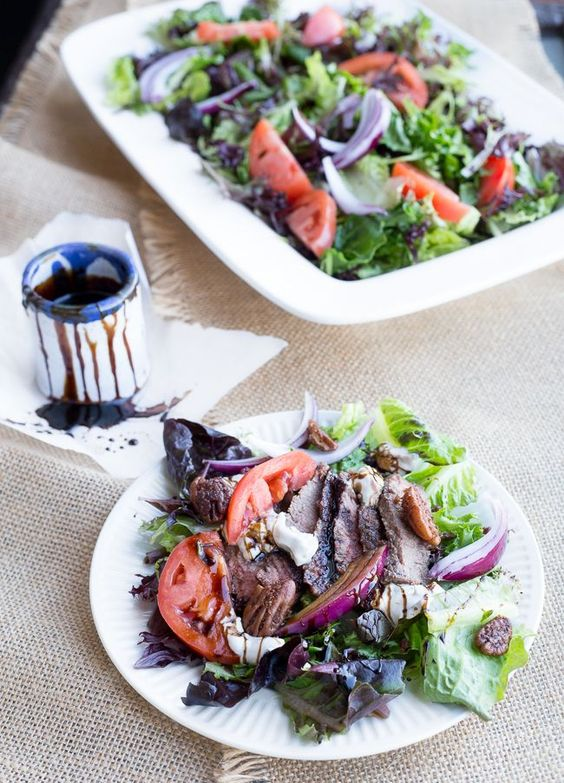 Steak Salad with Blue Cheese, Balsamic Glaze, and Candied Pecans