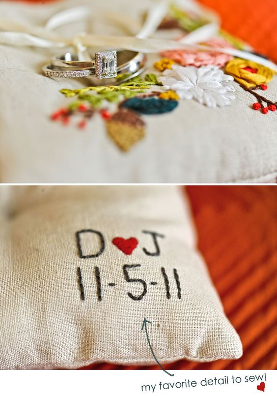 floral embroidered ring pillow with initials and wedding date
