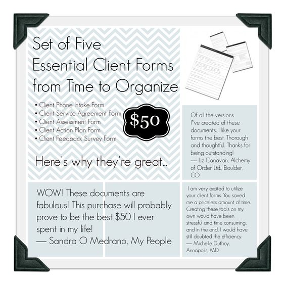 Set of five Essential Client Forms for Professional Organizers - service agreement contract
