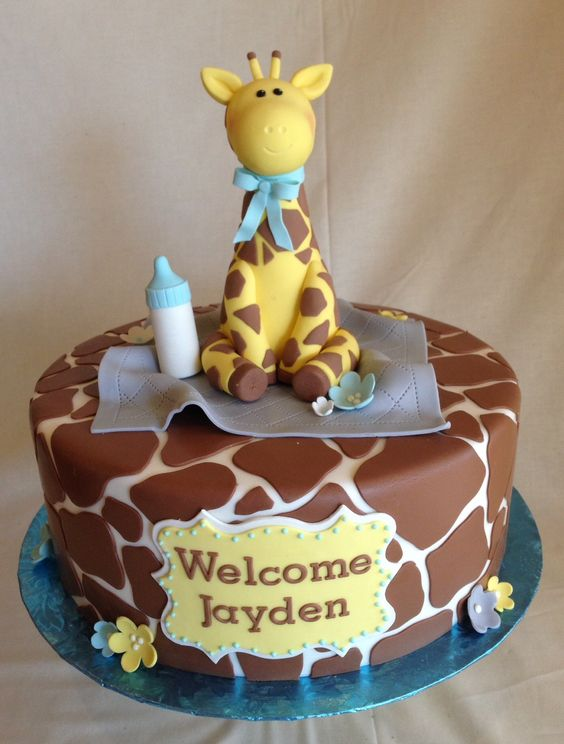 Baby Shower cake   fondant   giraffe print   custom topper   giraffe