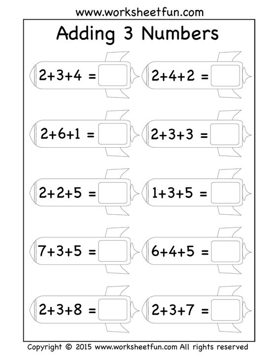Free Three Addend Worksheets Adding 3 Numbers Rockets – Rocket Math Worksheets Addition