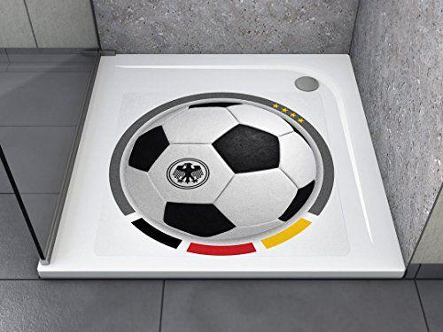 """Anti-Rutsch Aufkleber """"Fussball GER (quadratisch)"""" Antibakteriell, selbstklebend, leicht zu installieren und rückstandslos entfernbar. Ersetzt herkömmliche, schmutz-ansetzende Duschmatten. Für Badewanne und Dusche."""