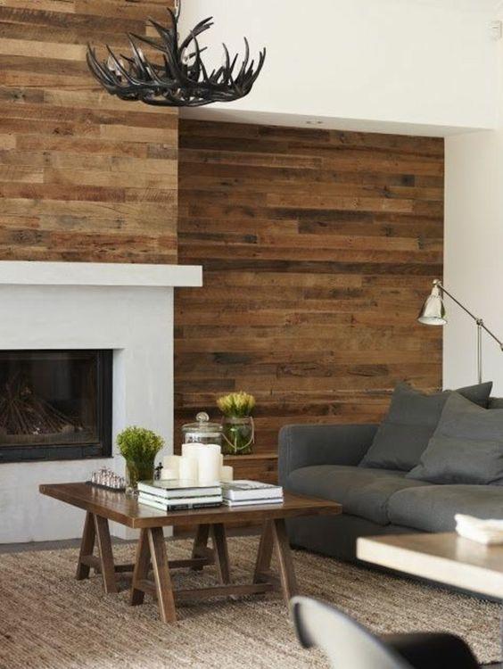interessante moderne farbgestaltung wohnzimmer braune holzbretter