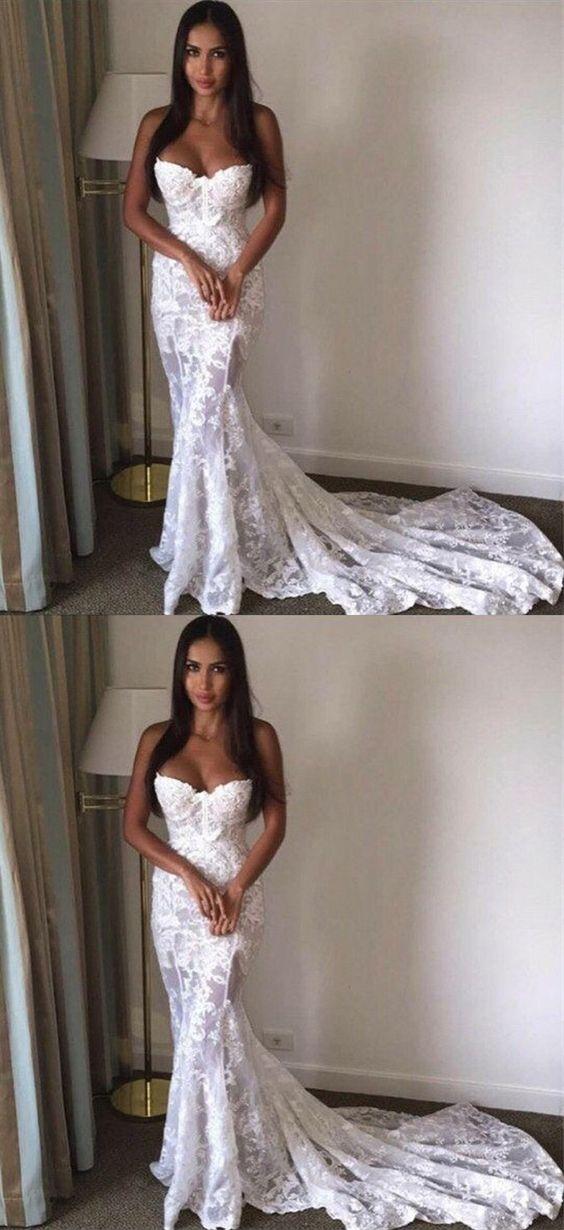 Mermaid Sweetheart Sleeveless Sweep Train Lace Wedding Dress Amazing Wedding Dress Wedding Dresses Bridal Dresses Lace