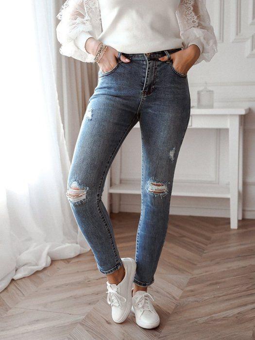 Slimowane Jeansy Z Wysokim Stanem Z Dziurami Skinny Jeans Outfits Skinny
