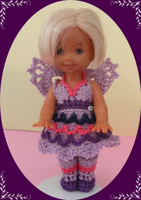 """Crochet Doll Clothes Purple Pony Outfit for 4 ½"""" Kelly Same Sized Dolls"""
