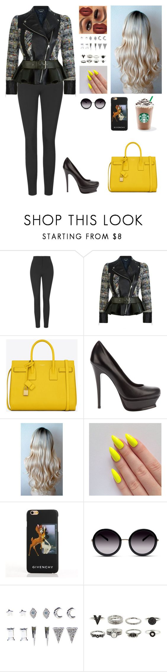 """Untitled #355"" by myrnalankreijer ❤ liked on Polyvore featuring Unique, Alexander McQueen, Yves Saint Laurent, Givenchy, GlassesUSA and Wet Seal"