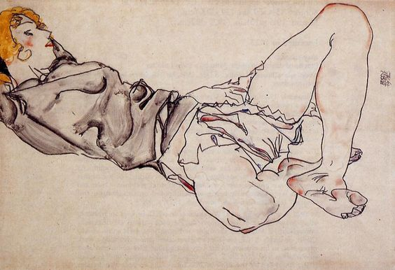Egon Schiele - Reclining Woman with Blonde Hair, 1912