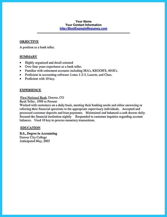 cool learning to write from a concise bank teller resume sample resume for bank teller - Sample Bank Teller Resume