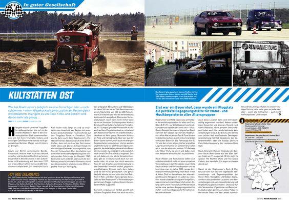 Bericht über den Roadrunners Motor & Rock'n'Roll Club erschienen im Motor Maniacs Magazin Heft 4/2012
