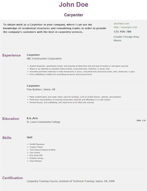 Resume for Carpenter   hipcv/abc/r/carpenter HipCv