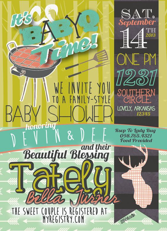 couples bbq baby shower invitation- baby-q shower, girl/boy, Baby shower invitations