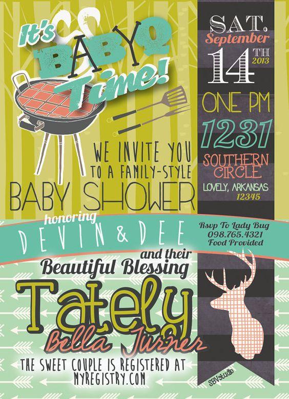 couples bbq baby shower invitation- baby-q shower, girl/boy, Baby shower invitations