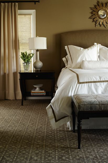 Warm bedroom with simple upholstered headboard starburst for Warm neutral colors for bedroom