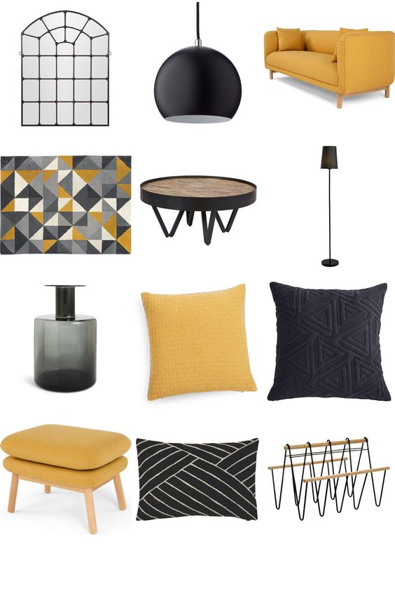 Modern Apartment - Mustard Yellow Inspiration Board. Trendy modern pieces with mustard yellow accent for a cool living space.