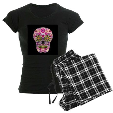 Pink Mexican Flower Skull pajamas on CafePress.com