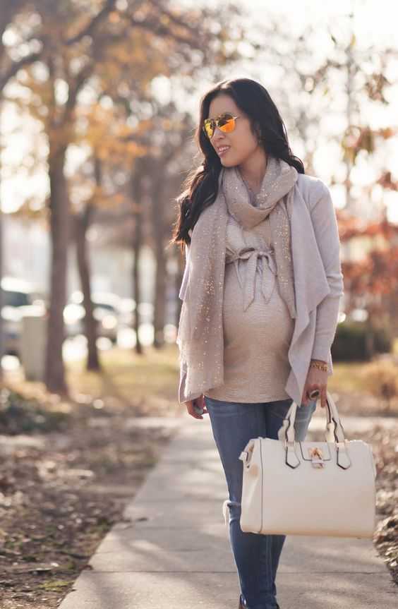 cute & little blog | petite fashion | maternity bumpstyle third trimester 33 weeks | gray waterfall cardi, gold foil top, speckled metallic gray scarf, maternity distressed jeans, taupe ankle booties, gold mirrored aviators | fall layering outfit: