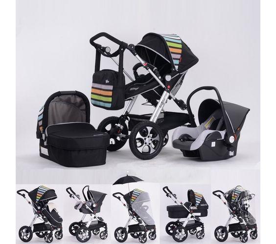 bebe2luxe pack combine poussette 3 en 1 rainbow 2 believe black toutes options affaires de. Black Bedroom Furniture Sets. Home Design Ideas