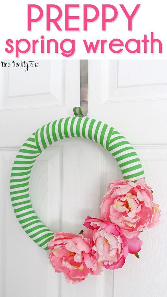 Preppy Spring DIY Stripes and Flowers Wreath Tutorial via two twenty one - I love this front porch decor! - easy craft project that costs less than $15 to make!