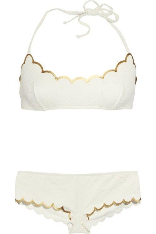 : Gold Trim, Bathing Suits, Swimsuits, Scalloped Bikini, Scalloped Edge