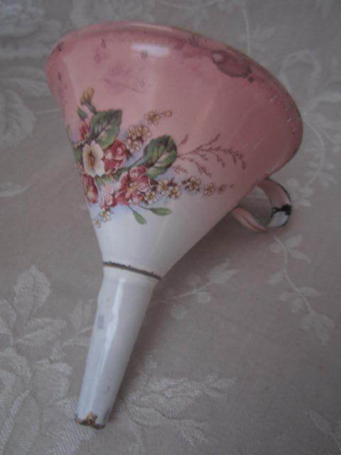 Divine Rare FRENCH ENAMELWARE FUNNEL Floral / Pink Shading 19th cent. PROVENCE