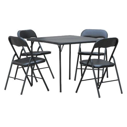 5pc Folding Table Set Black Plastic Dev Group Folding Table Table And Chair Sets Wood Folding Table