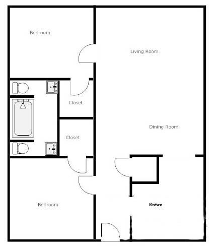 Simple 2 bedroom house plans google search house plans for Simple house floor plan