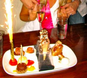 Great dessert at a recent party - small filled ice creamed cones and mini desserts with sparklers