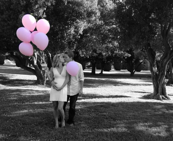 Baby gender reveal photo idea! We had some random girl in the park take the picture then used the ColorSplash iPhone app to mess with the color.
