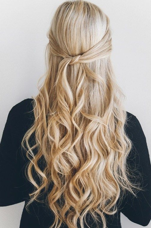 Casual Half Up Half Down Hairstyles That We Are Loving Down Curly Hairstyles Hair Styles Easy Hairstyles