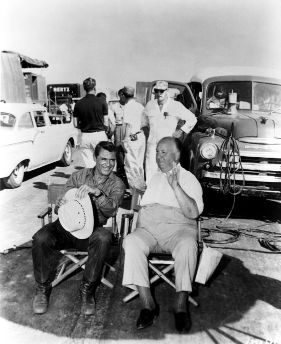 Cary Grant and Alfred Hitchcock on thr set of NORTH BY NORTHWEST (1958)