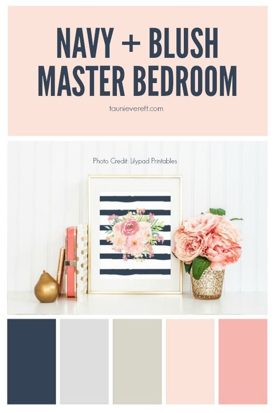 Navy and Blush Master Bedroom
