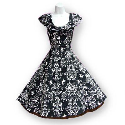H&R London Zwart/wit- rockabilly, vintage, retro swing jurk met brokaat patroon