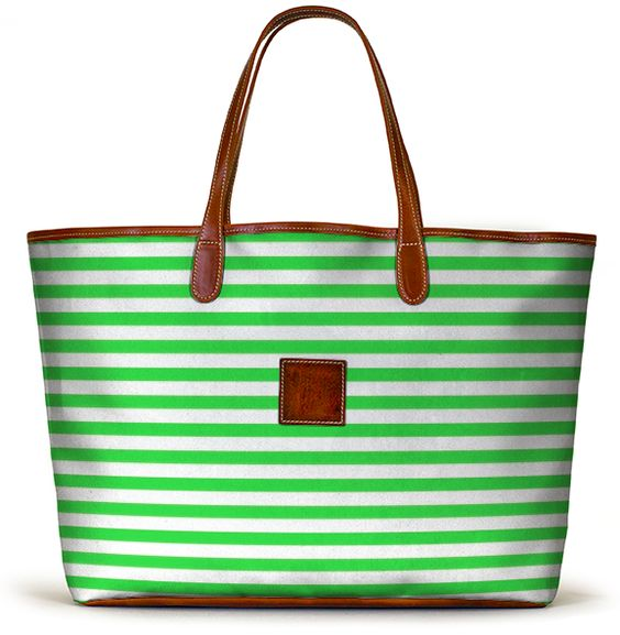 Love this fun green striped tote - it's available in over 5000 color and pattern combos!