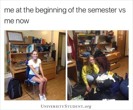 Me At The Beginning Of The Semester Vs Me Now Studentlifeproblems Semester Studying Memes Studying Funny Student Memes