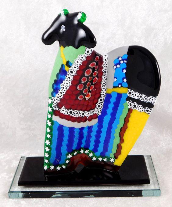 Vietri Murano Glass Horse Sculpture Millefiori 8H x 6.5W x 2.75inD c1981