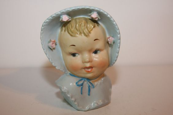 Vintage Baby Head with Blue Bonnet