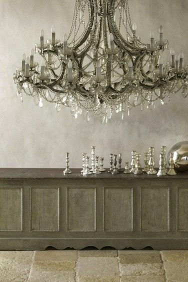 Pure, unbridled, opulently gorgeous chandelier heaven. #home #decor #upscale #posh #vintage #silver #grey #chandelier #lighting