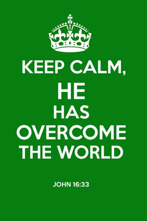 """I have told you these things, so that in me you may have peace. In this world you will have trouble. But take heart! I have overcome the world."":"