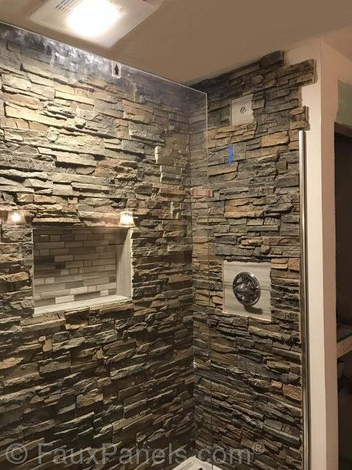 Adding Artificial Rock Panels To The Tub Can Give A Luxurious Appearance Bathroom Wall Panels Waterproof Bathroom Wall Panels Stone Shower Walls