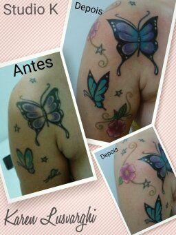 Tattoo cover up borboletas