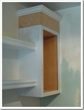 Add height to cabinets with plywood and crown molding for Oak crown molding for kitchen cabinets